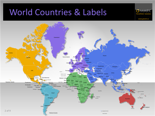 Editable World Map Powerpoint With Country Names ✓ The Emoji