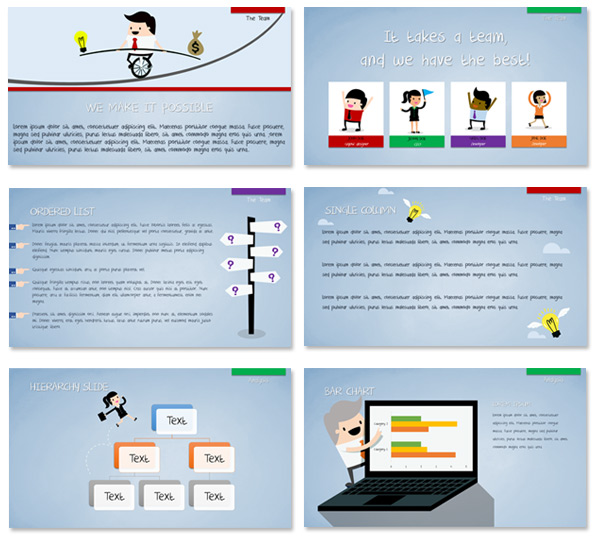 Flat Presentation Toons - cartoon style PowerPoint vector graphics