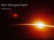 Planet Sunrise PPT PowerPoint Template Background