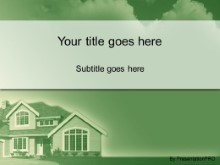 Download house in the clouds green PowerPoint Template and other software plugins for Microsoft PowerPoint