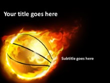 Flaming Basketball PPT PowerPoint Template Background