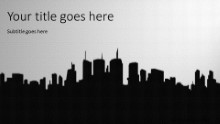 City Silhouette Widescreen PPT PowerPoint Template Background