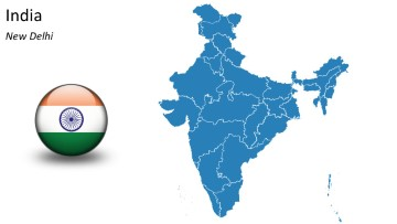 Powermaps 100 editable powerpoint map shapes for India map ppt template