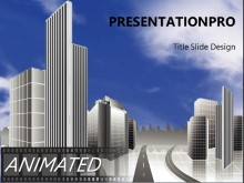 Animated City Sky Widescreen PPT PowerPoint Animated Template Background