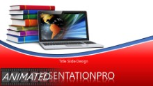 Globe Laptop And Books Red Animated Widescreen PPT PowerPoint Animated Template Background