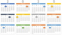 2020 Calendars Full Year Monthly