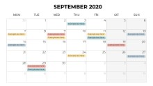 Calendars 2020 Monthly Monday September