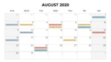 Calendars 2020 Monthly Sunday August