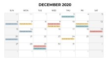 Calendars 2020 Monthly Sunday December