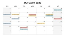 Calendars 2020 Monthly Sunday January
