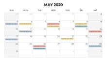 Calendars 2020 Monthly Sunday May