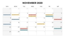 Calendars 2020 Monthly Sunday November