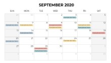 Calendars 2020 Monthly Sunday September