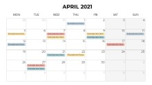 Calendars 2021 Monthly Monday April