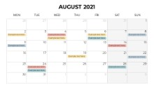 Calendars 2021 Monthly Monday August