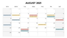 Calendars 2021 Monthly Sunday August