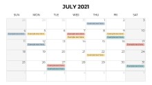 Calendars 2021 Monthly Sunday July