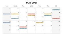 Calendars 2021 Monthly Sunday May