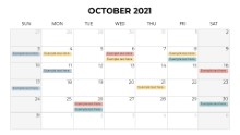 Calendars 2021 Monthly Sunday October