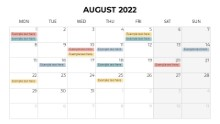 Calendars 2022 Monthly Monday August