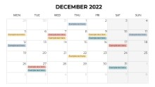 Calendars 2022 Monthly Monday December