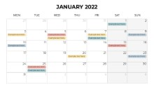Calendars 2022 Monthly Monday January