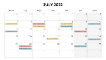 Calendars 2022 Monthly Monday July
