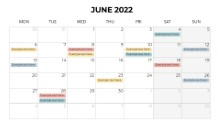 Calendars 2022 Monthly Monday June