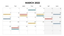 Calendars 2022 Monthly Monday March
