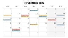 Calendars 2022 Monthly Monday November