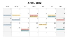 Calendars 2022 Monthly Sunday April