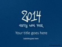 2014 Leathery Blue PPT PowerPoint Template Background
