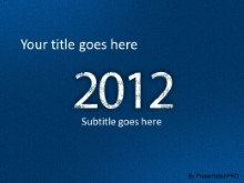 2012 Leathery Blue PPT PowerPoint Template Background