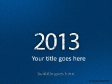2013 Leathery Blue PPT PowerPoint Template Background