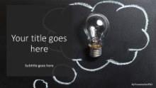 PowerPoint Templates - Light Bulb Chalk Idea Widescreen