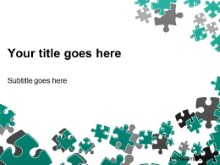 PowerPoint Templates - Puzzle Scatter Teal