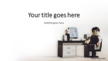 PowerPoint Templates - Anxious Office Toy White Widescreen