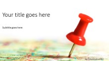 Thumbtack In Map Widescreen PPT PowerPoint Template Background