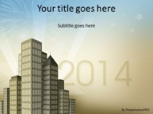 City New Year 2014 PPT PowerPoint Template Background