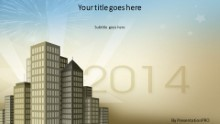 City New Year 2014 Widescreen PPT PowerPoint Template Background