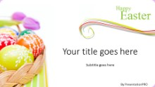 Easter Egg Basket B Widescreen PPT PowerPoint Template Background