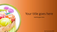 Easter Egg Basket Orange Widescreen PPT PowerPoint Template Background