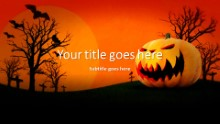 Halloween Pumpkin Widescreen PPT PowerPoint Template Background