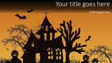 Haunted House Widescreen PPT PowerPoint Template Background
