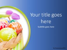 Easter Egg Basket Blue PPT PowerPoint Template Background