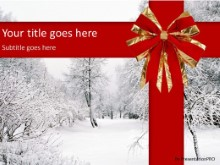 Winter Red Ribbon PPT PowerPoint Template Background
