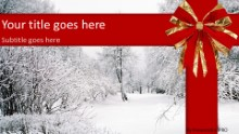 Winter Red Ribbon Widescreen PPT PowerPoint Template Background
