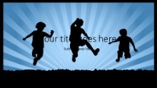 Children Silhouettes Widescreen PPT PowerPoint Template Background