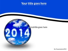 2014 In Clouds PPT PowerPoint Template Background