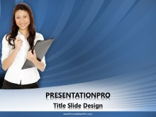 Asian Lady with Clipboard PPT PowerPoint Template Background